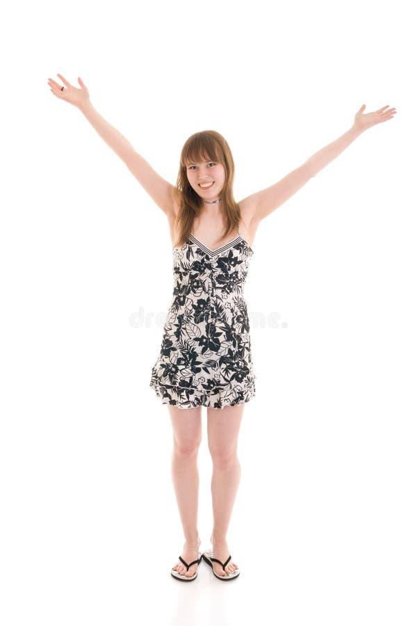 Het jonge aantrekkelijke meisje dat op een wit wordt geïsoleerdo royalty-vrije stock afbeeldingen