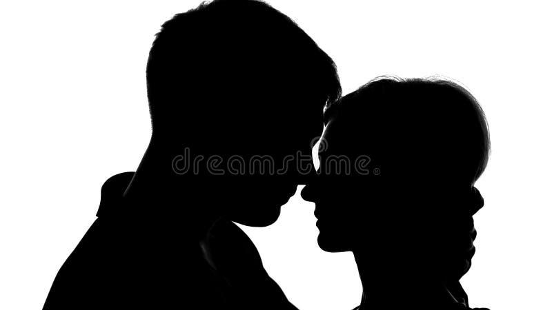 Het jonge aantrekkelijke paar silhouetteert passionately het kussen, sterk gevoel, liefde stock afbeelding