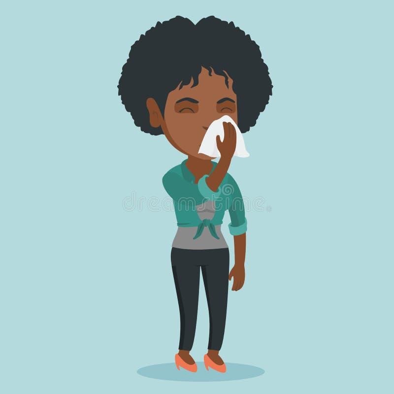 Het jonge Afrikaans-Amerikaanse zieke vrouw niezen vector illustratie