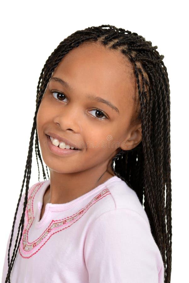 Het jonge Afrikaanse vrouwelijke kind van de close-up royalty-vrije stock afbeelding