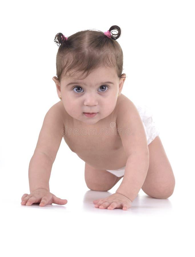 Het jonge Babymeisje Kruipen royalty-vrije stock foto