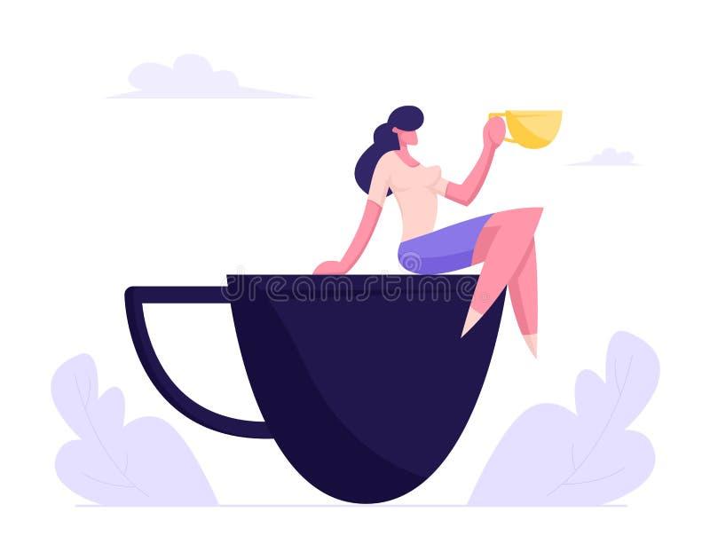 Het jonge Bedrijfsvrouw Ontspannen op Koffiepauzezitting op Reusachtige Kop, Meisje het Bezoeken Koffierestaurant voor Lunch royalty-vrije illustratie