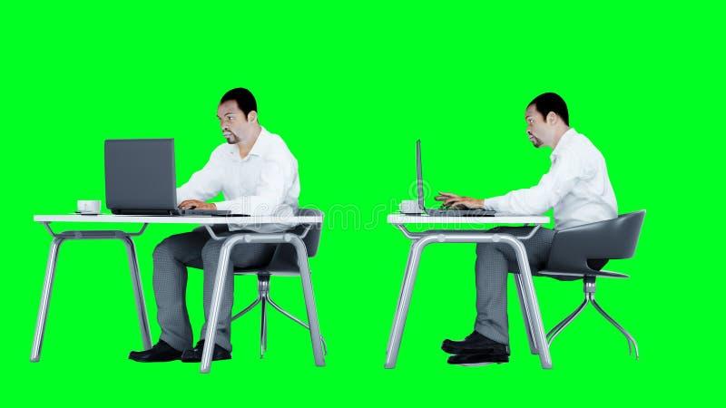 Het jonge bezige zakenman werken Afrikaans mannetje die het scherm van laptop op het bureau onderzoeken Creatieve werkruimte vector illustratie