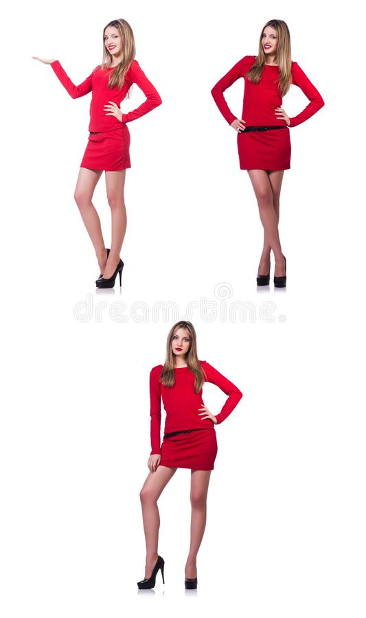 Het jonge blondemeisje in rode korte die kledingsholding op wit wordt ge?soleerd stock afbeeldingen
