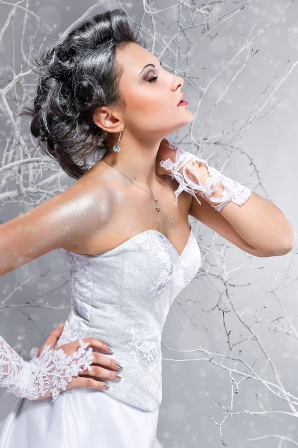 Het jonge bruid dromen stock foto
