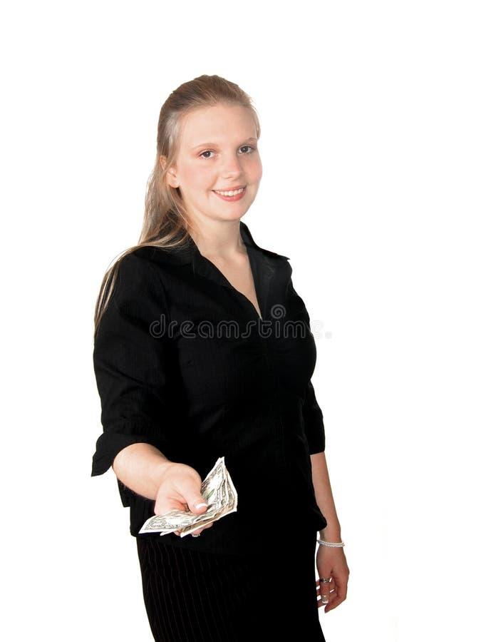 Het jonge Contante geld van de Vrouw stock fotografie