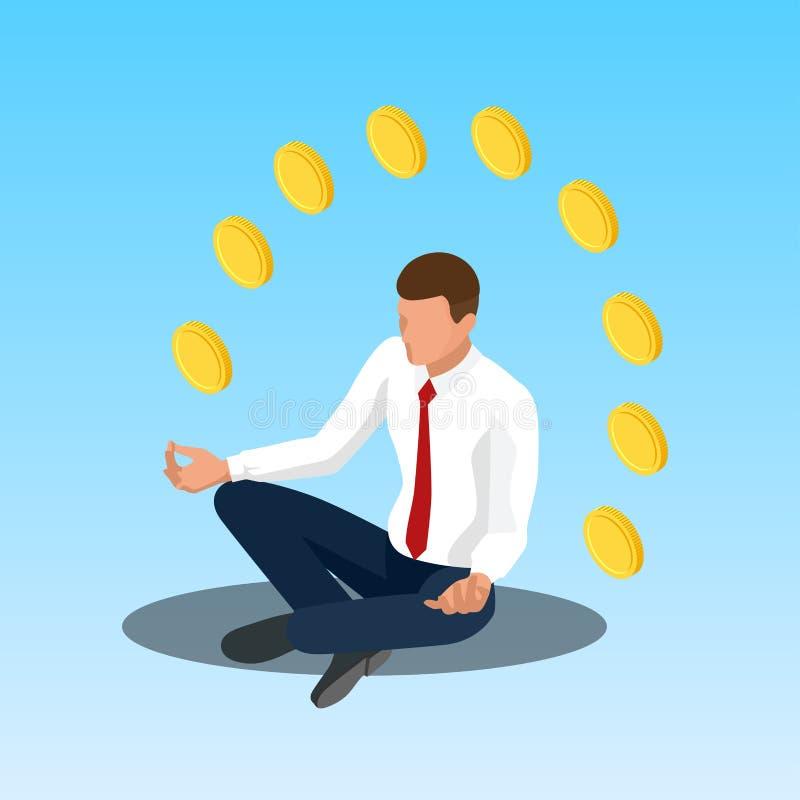 Het jonge de zakenman van de yogapositie ontspannen De zakenmanzitting in padmasanalotusbloem stelt Isometrische illustratie stock illustratie