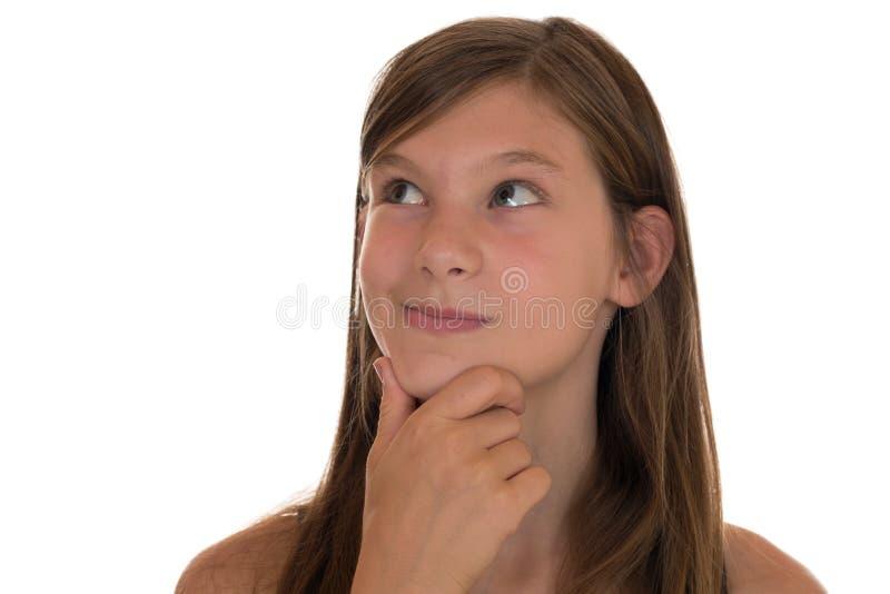 Het jonge Denken van het Meisje stock afbeelding