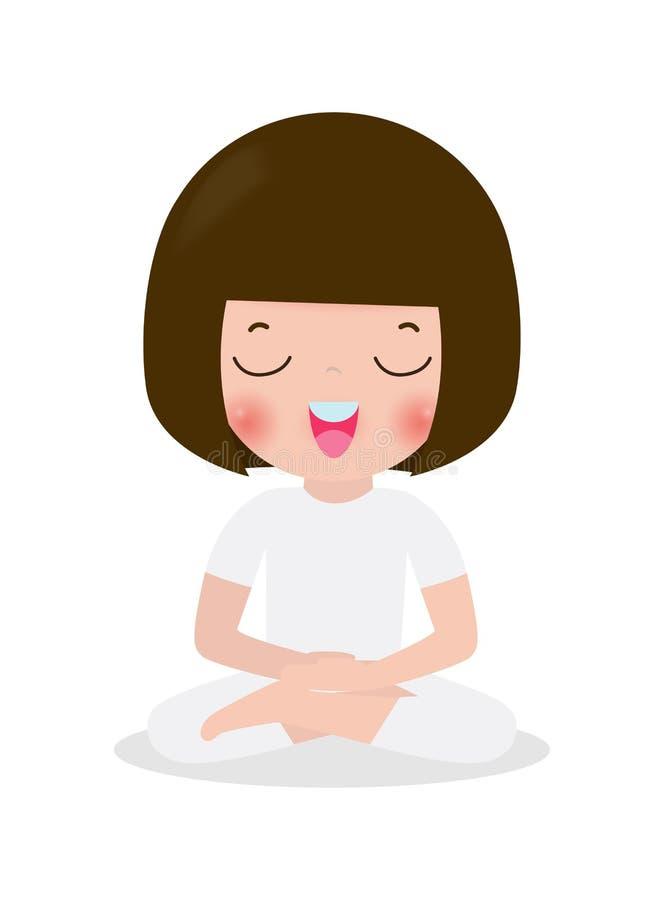 Het jonge geitje die in lotusbloem mediteren stelt De leuke yoga van beeldverhaalkinderen en meditatie vectorillustratie in vlakk stock illustratie