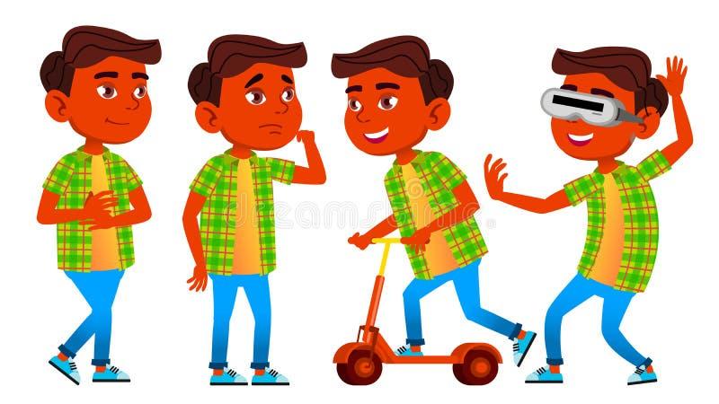 Het Jonge geitje van de jongensschooljongen stelt Vastgestelde Vector Hindoese Indiër, Aziatisch Lage schoolkind Onderwijs onderw royalty-vrije illustratie