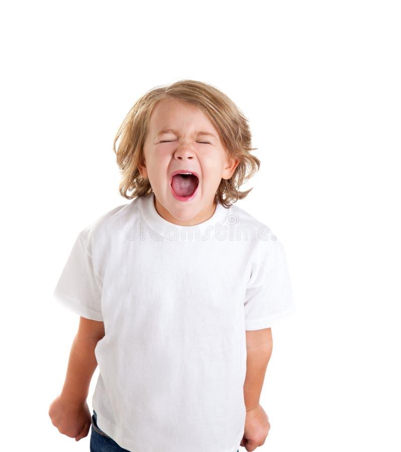Het jonge geitje van kinderen het gillen uitdrukking op wit stock foto