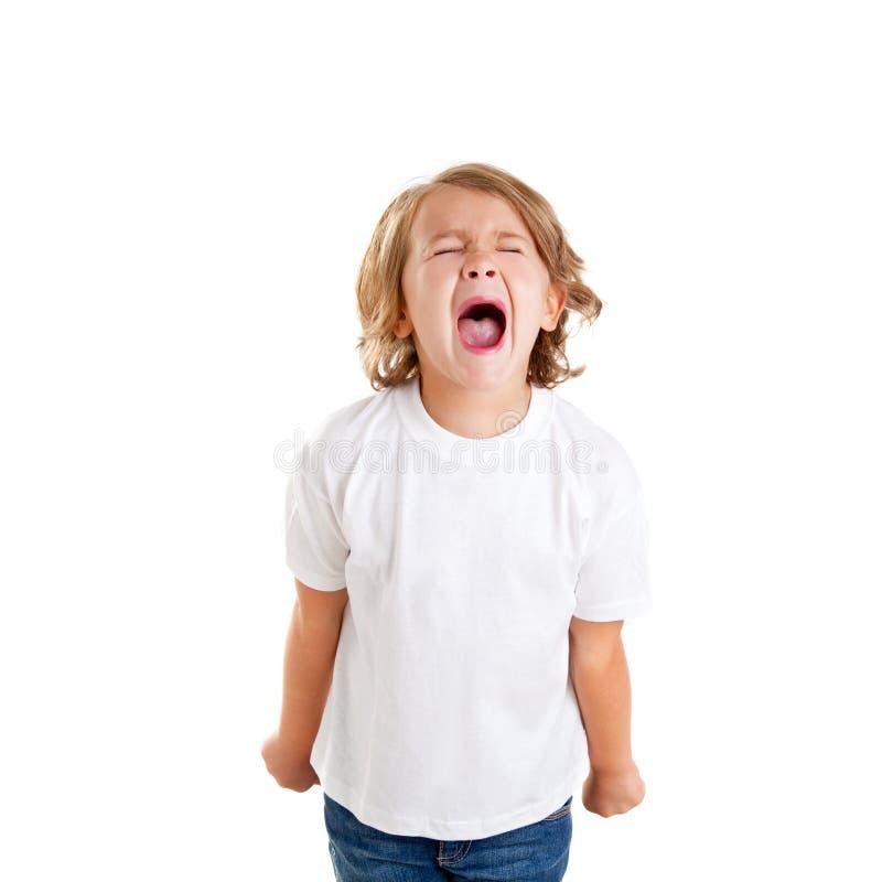 Het jonge geitje van kinderen het gillen uitdrukking op wit royalty-vrije stock fotografie