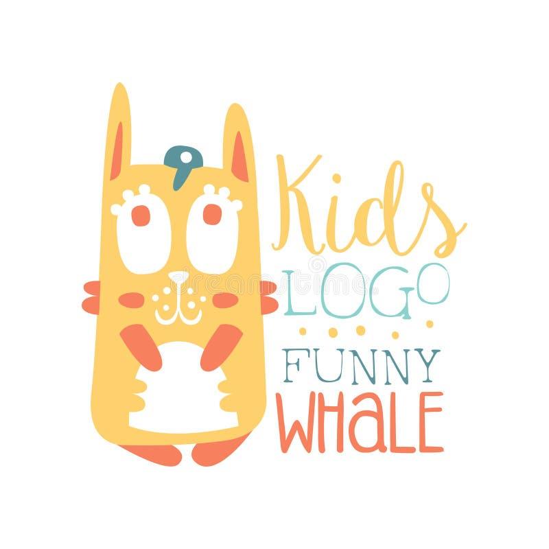 Het jonge geitjesembleem, grappig walvis origineel ontwerp, het etiket van de babywinkel, manierdruk voor jonge geitjes draagt, d vector illustratie