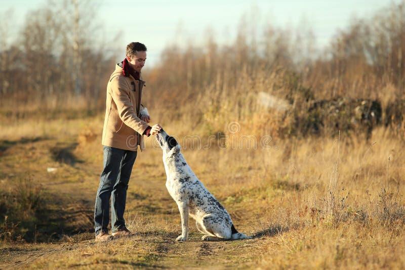 Het jonge gelukkige Europese glimlachen en het lachen lopen op een gebied met een grote witte hond stock fotografie