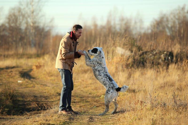 Het jonge gelukkige Europese glimlachen en het lachen lopen op een gebied met een grote witte hond royalty-vrije stock fotografie