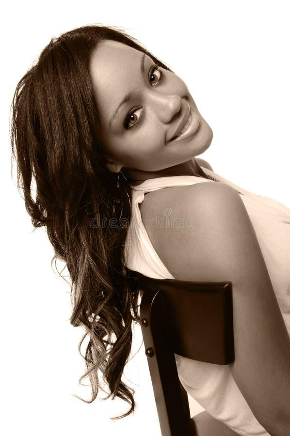 Het jonge Glimlachen van de Vrouw stock fotografie