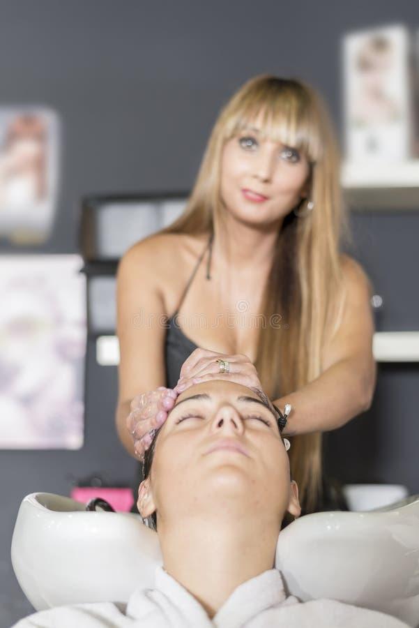 Het jonge haar van de vrouwenwas in salon stock foto's