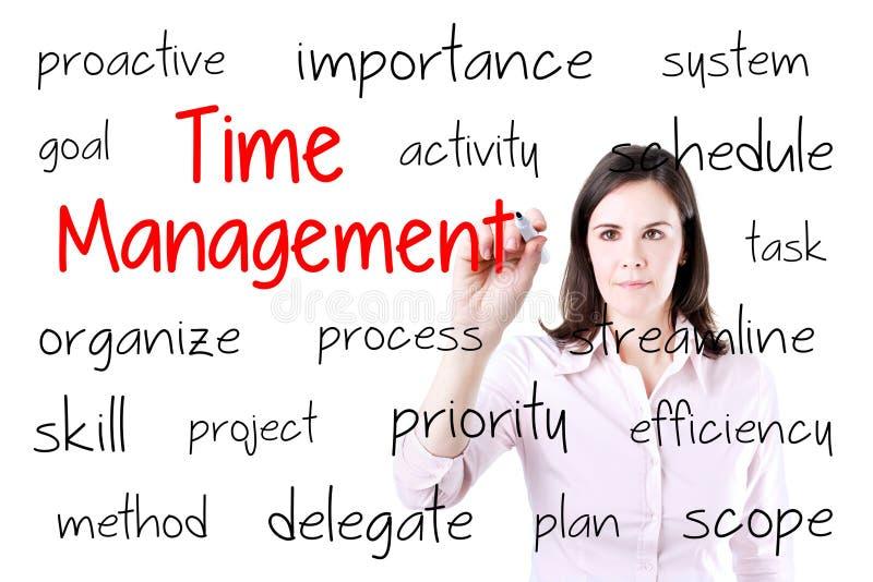 Het jonge het bedrijfsvrouw schrijven concept van het tijdbeheer Geïsoleerd op wit stock foto