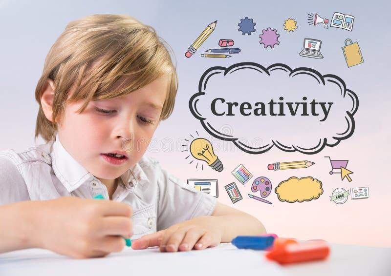 Het jonge jongen kleuren met Creativiteittekst met tekeningengrafiek vector illustratie