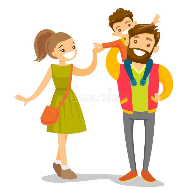 Het jonge Kaukasische witte familie wandelen royalty-vrije illustratie