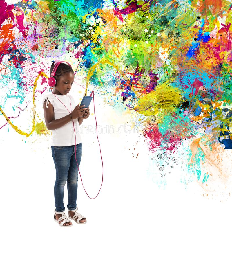 Het jonge kind luistert aan muziek met plonsgevolgen stock illustratie