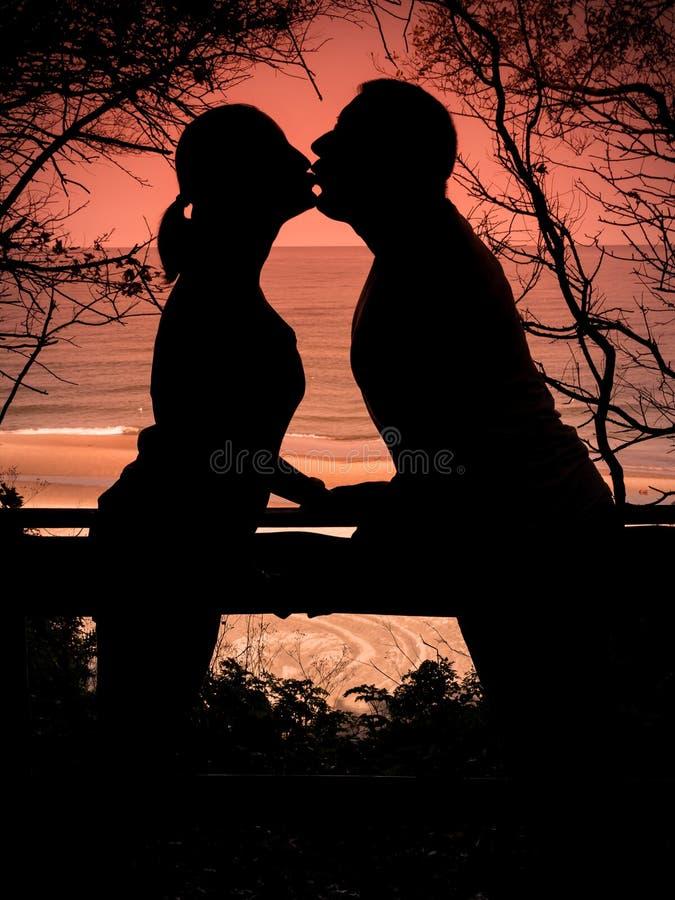 Het jonge kussen van het Paar royalty-vrije stock afbeeldingen