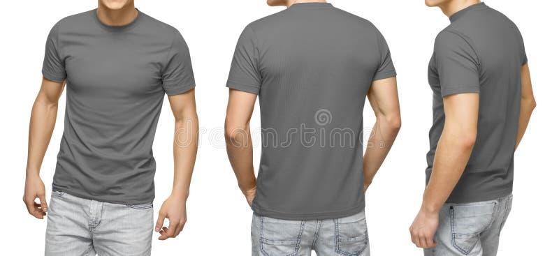 Het jonge mannetje in lege grijze t-shirt, voor en achtermening, isoleerde witte achtergrond De t-shirtmalplaatje en model van on stock foto's