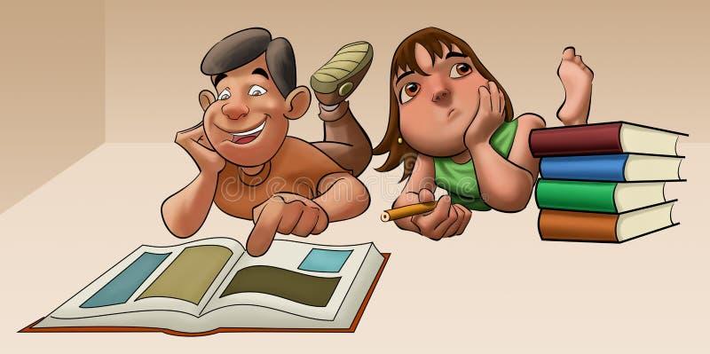 Het jonge meisje dat aan haar onderzoek bestudeert vector illustratie