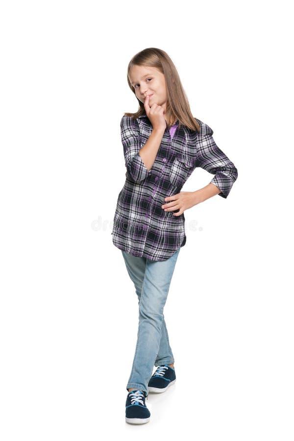 Het jonge meisje denkt stock fotografie