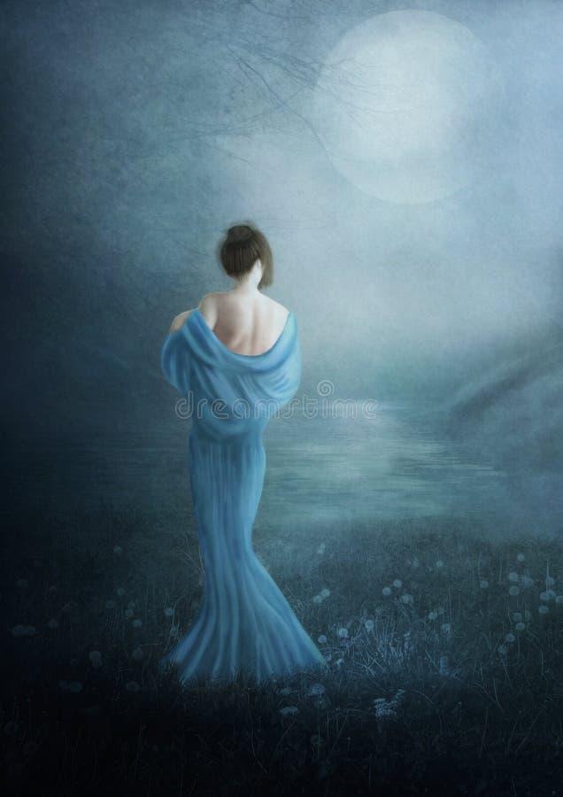 Het jonge meisje en de blauwe maan royalty-vrije stock foto