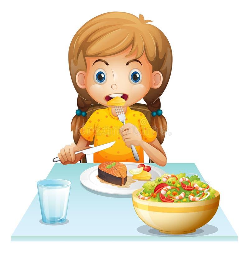 Het jonge meisje eten royalty-vrije illustratie