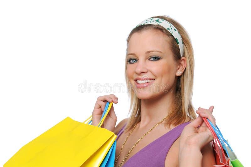 Het jonge meisje gaande winkelen stock afbeeldingen