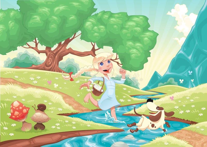 Het jonge meisje loopt met hond in de aard. royalty-vrije illustratie