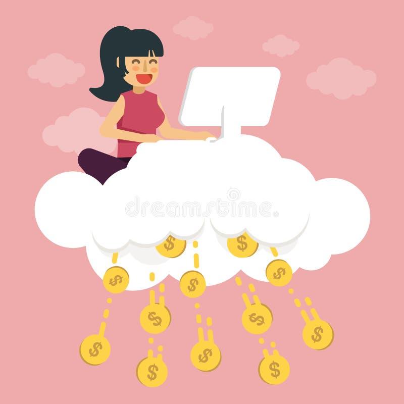 Het jonge meisje maakt geld op wolk De Vectorillustratie van het elektronische handelconcept vector illustratie