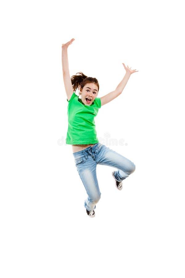 Het jonge meisje springen stock afbeeldingen