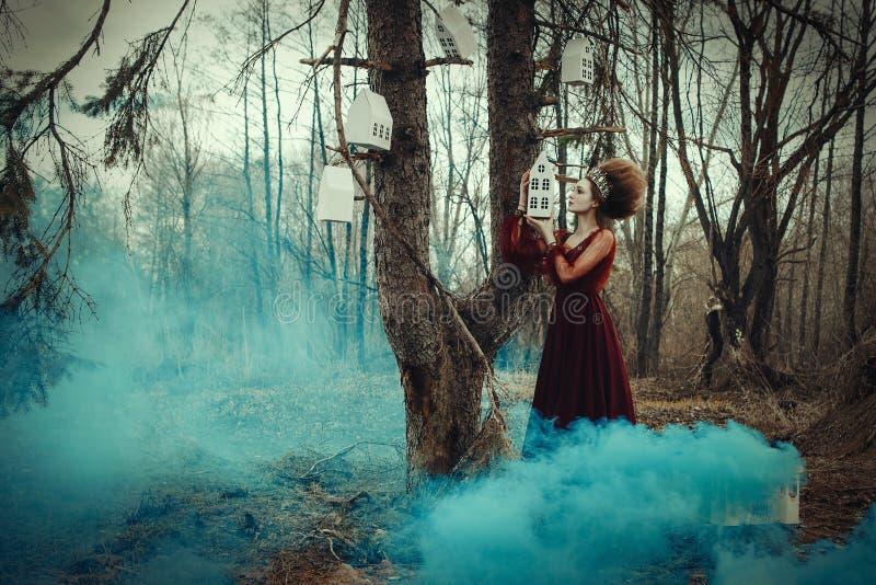 Het jonge meisje stelt in een rode kleding met creatief kapsel stock foto