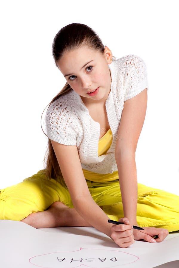 Het jonge meisje trekt royalty-vrije stock foto