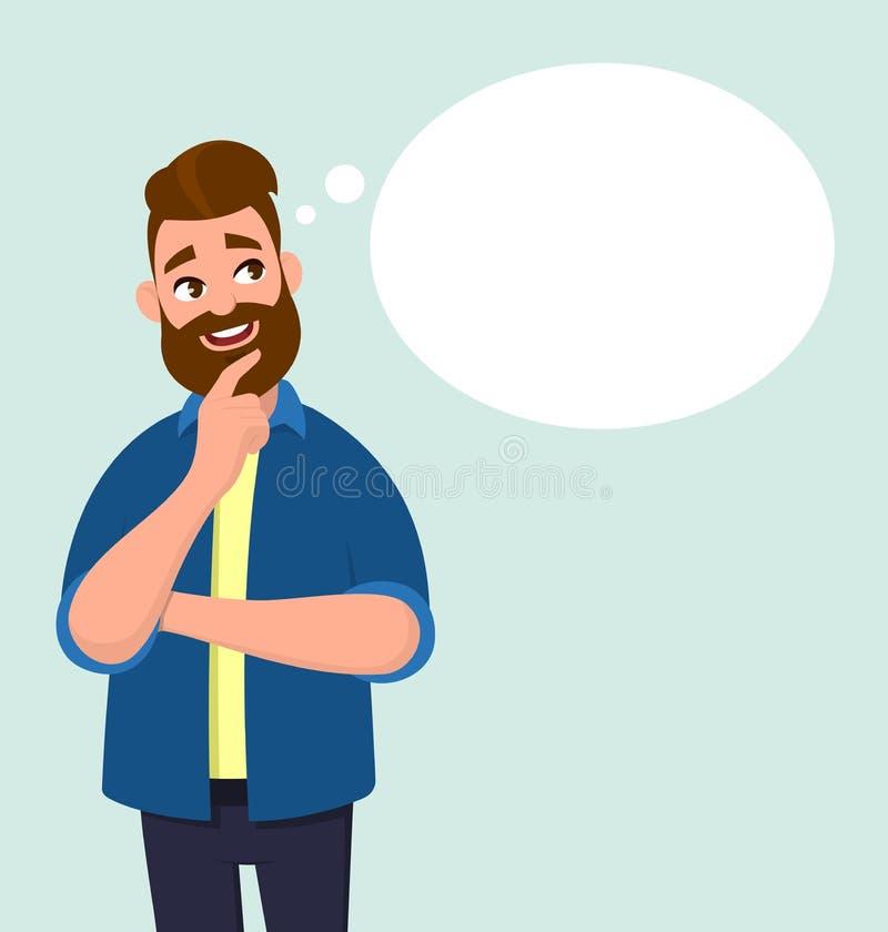 Het jonge mens denken en lege gedachte/toespraakbel stock illustratie