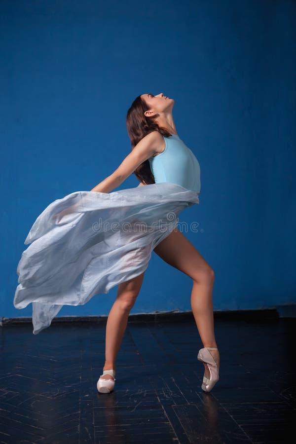 Het jonge moderne balletdanser stellen op blauw stock foto's
