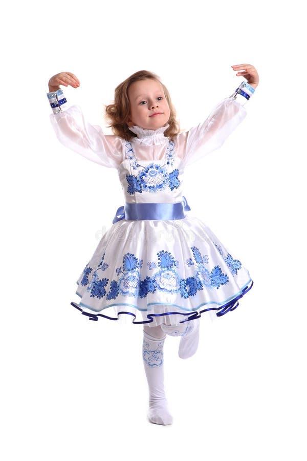 Het jonge mooie meisje in een blauwe kleding royalty-vrije stock foto