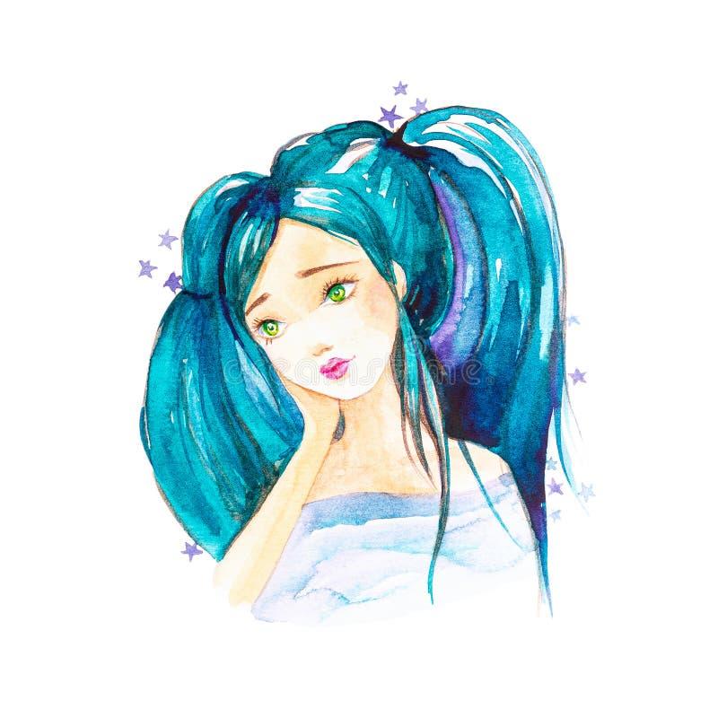 Het jonge mooie meisje met blauw haar verzamelde zich in paardestaarten die door sterren worden omringd Ge?soleerdj op witte acht royalty-vrije illustratie