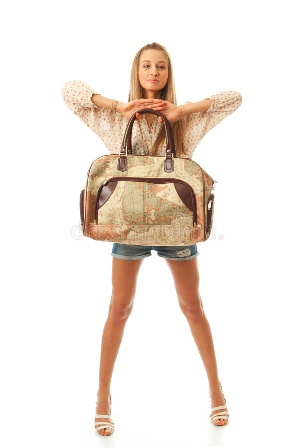 Het jonge mooie meisje met een zak