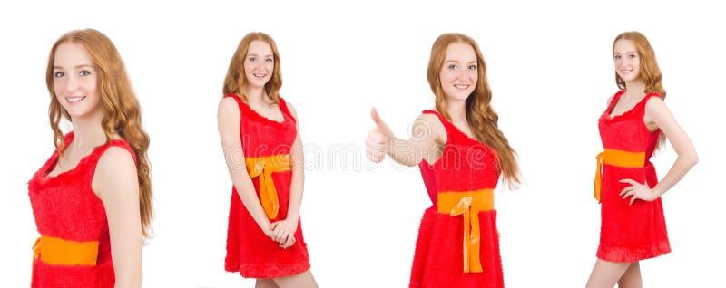 Het jonge mooie meisje in rode die kleding thunms omhoog op wit wordt geïsoleerd royalty-vrije stock afbeeldingen