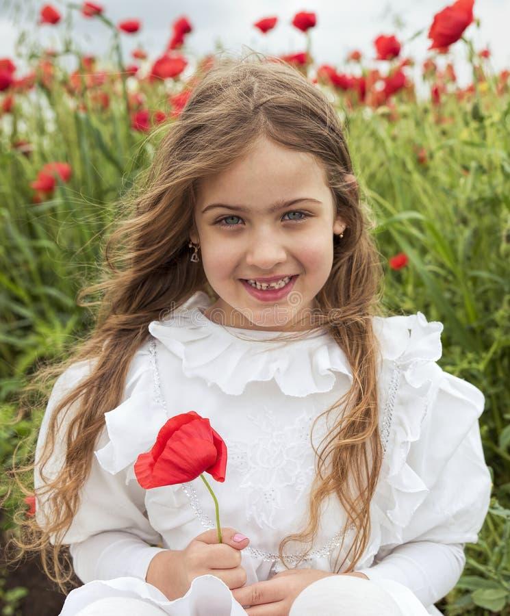 Het jonge Mooie meisje in witte kledingszitting op papavergebied en het holdingsrood bloeien stock foto's