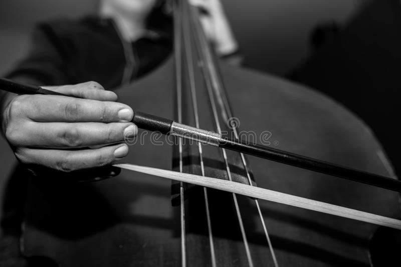 Het jonge niet identificeerbare musicus spelen op de dubbele baarzen stock fotografie