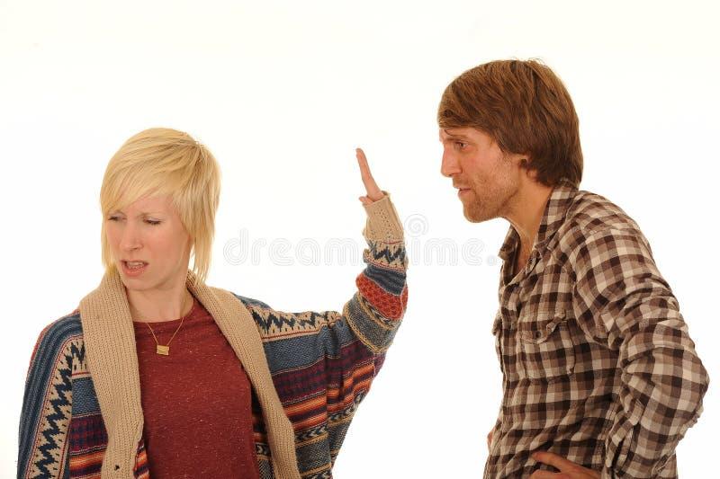 Het jonge paar debatteren royalty-vrije stock foto