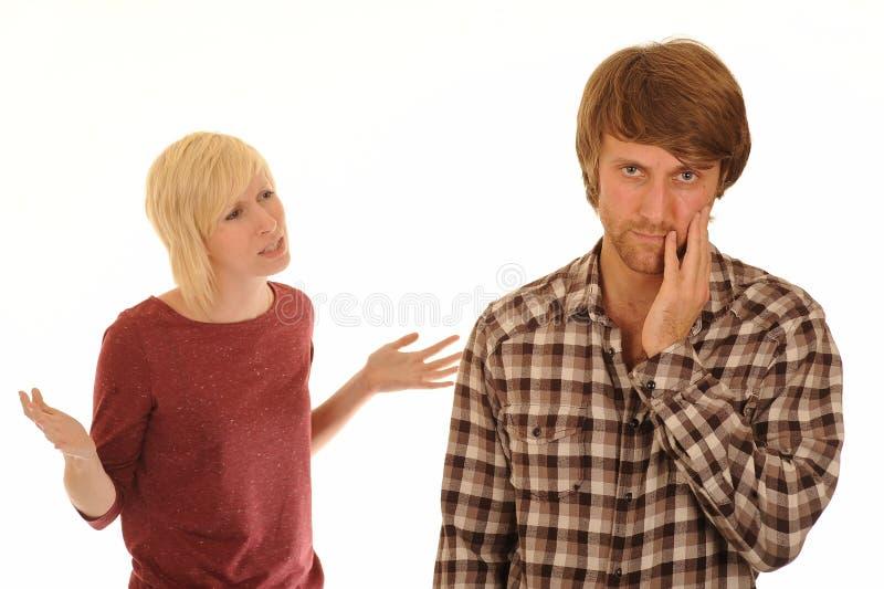Het jonge paar debatteren stock foto