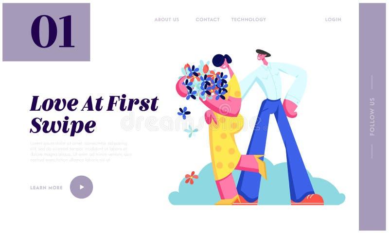 Het jonge Paar heeft het Dateren Het leuke Boeket van de Meisjesgreep van Bloemen in Handen, Mens die Meisje omhelzen Liefde, Men vector illustratie