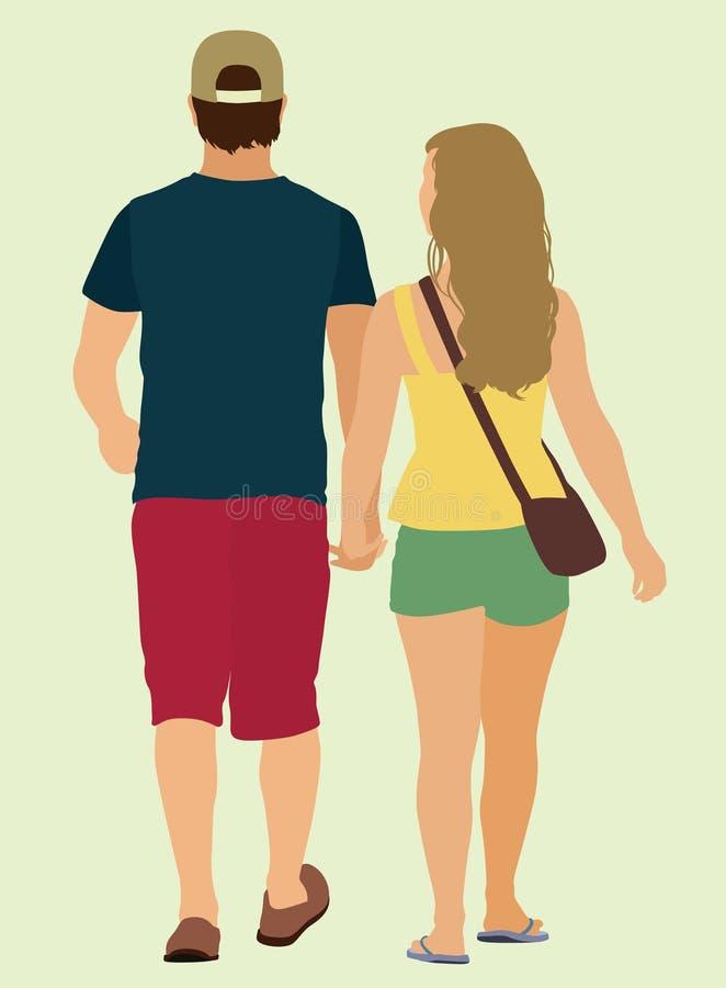 Het jonge paar lopen royalty-vrije illustratie