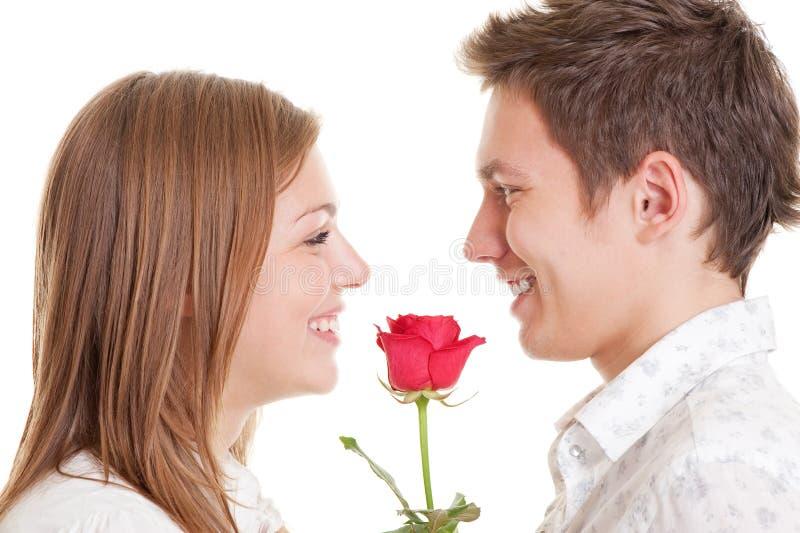 Het jonge paar met rood nam toe royalty-vrije stock fotografie